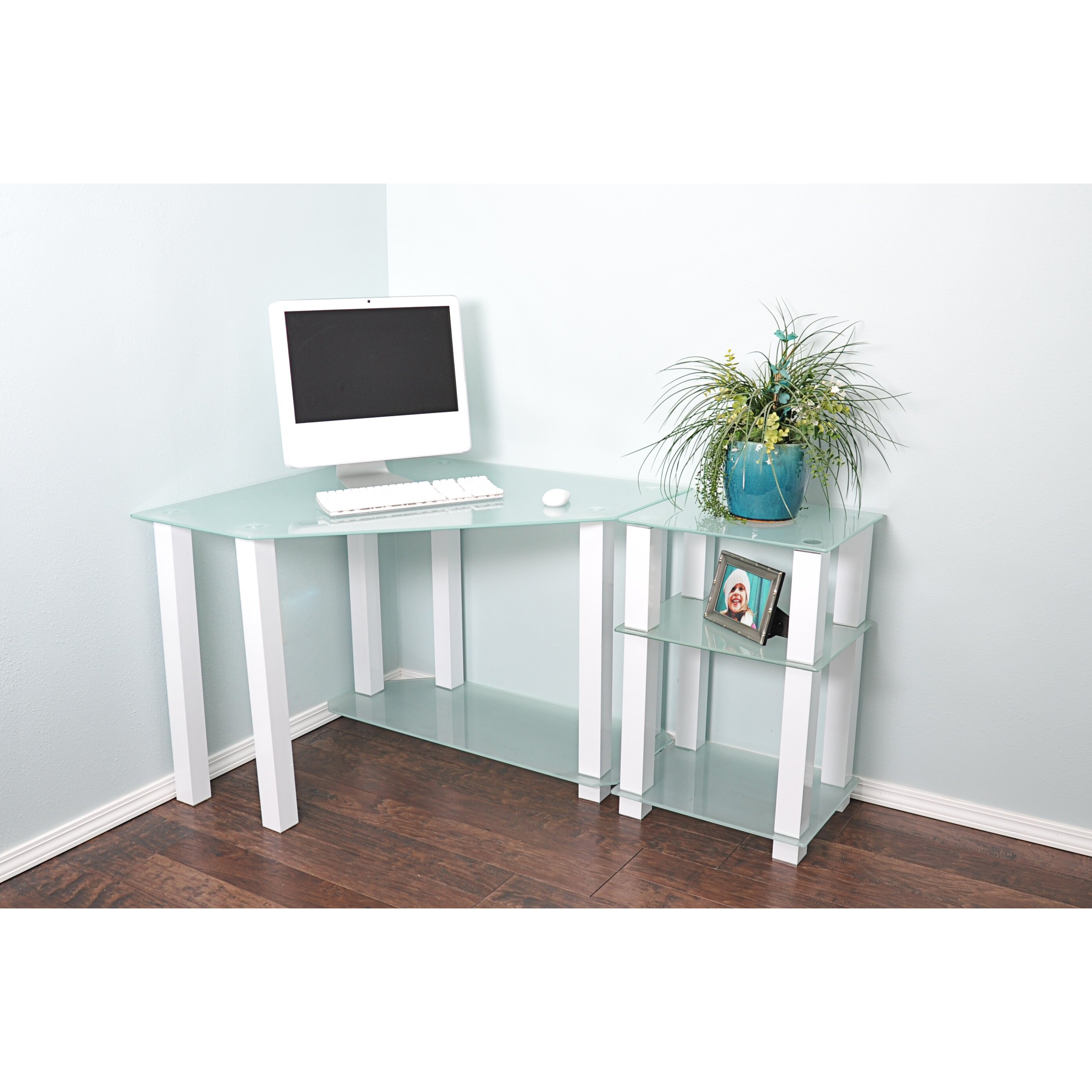 white lines corner computer desk with right extension table wayfair. Black Bedroom Furniture Sets. Home Design Ideas
