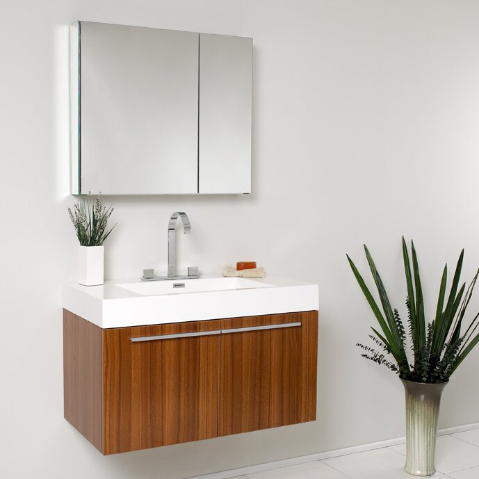 fresca senza 36 single vista modern bathroom vanity set with mirror