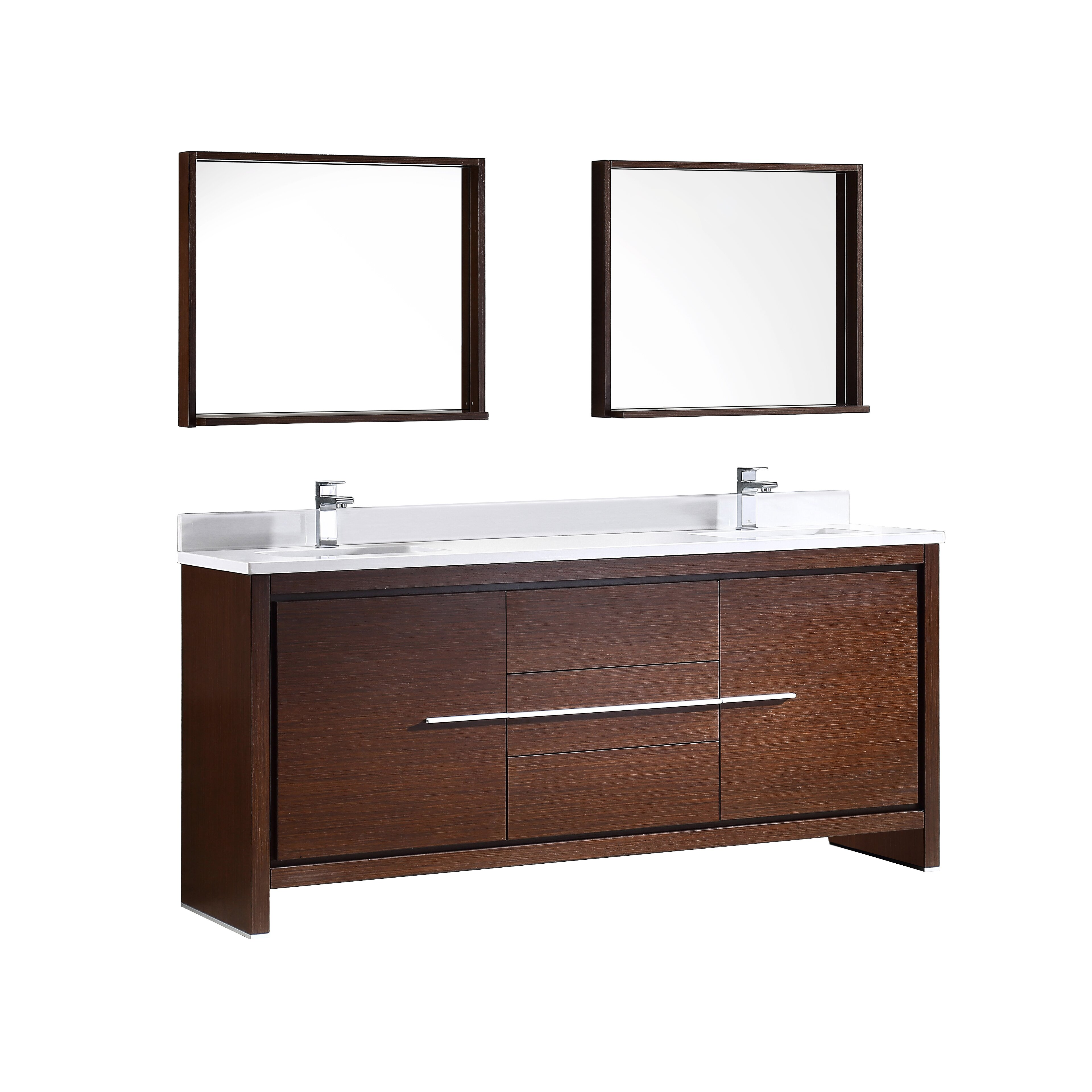 Fresca Trieste Allier 72 Double Modern Sink Bathroom Vanity Set With Mirror Reviews Wayfair