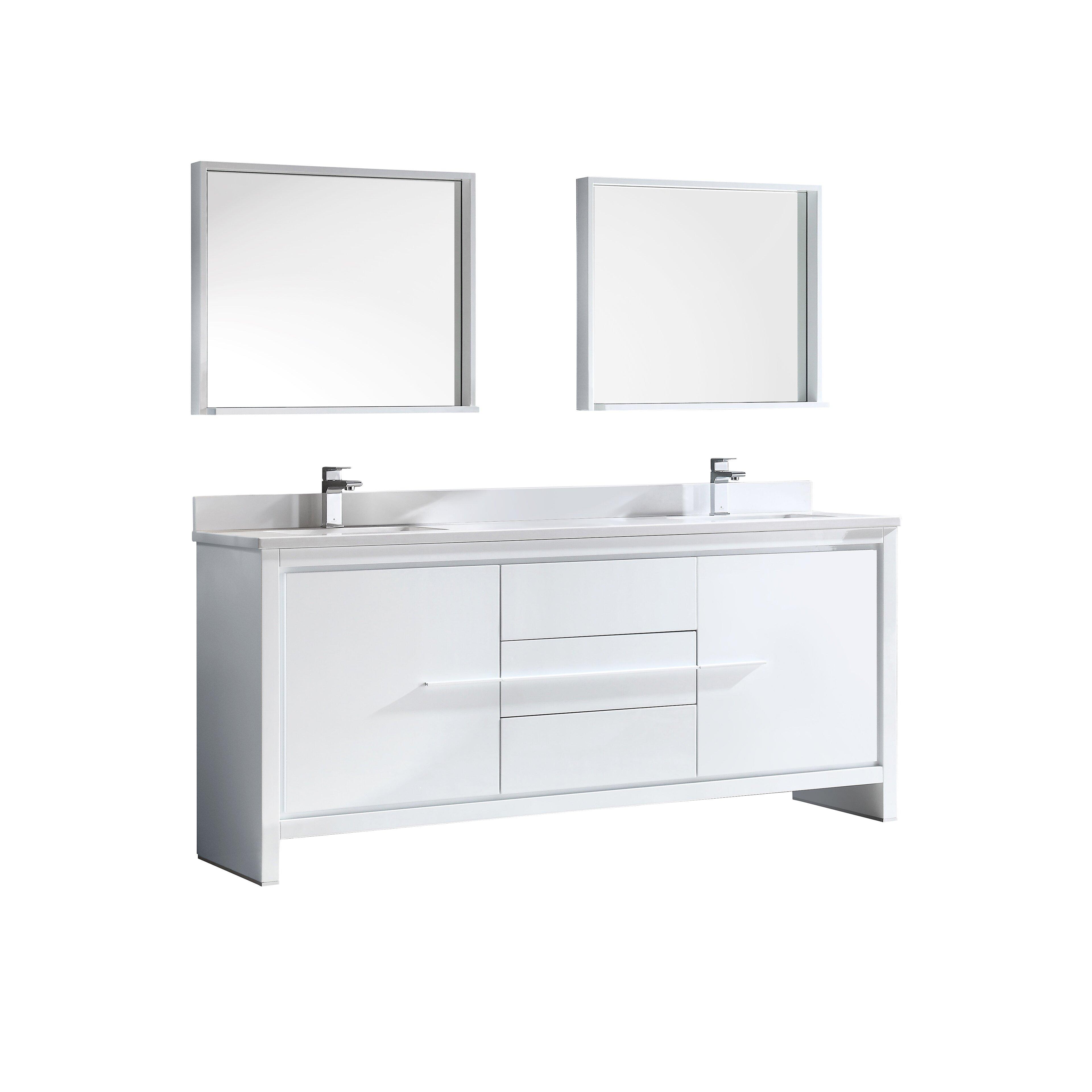 "Double Sink Mirrored Bathroom Vanity: Fresca Trieste Allier 72"" Double Modern Sink Bathroom"