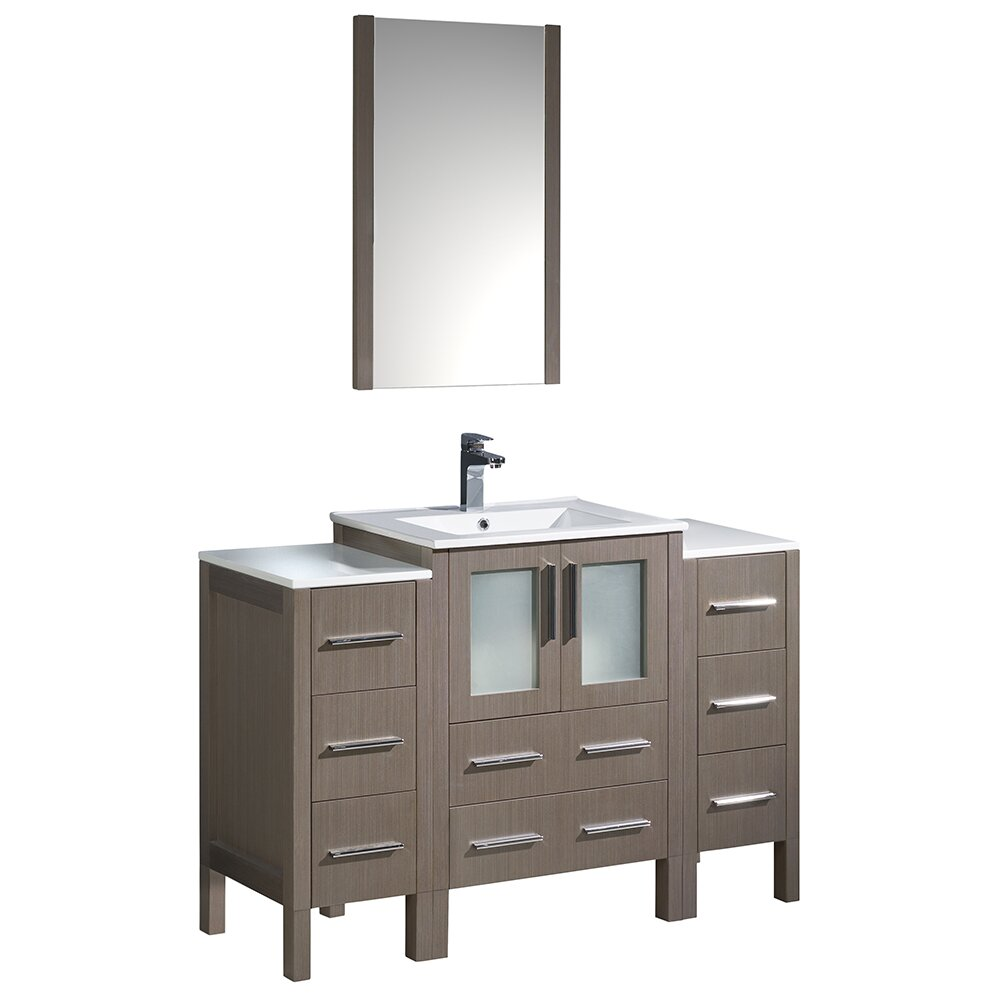 oak modern bathroom vanity w 2 side cabinets and integrated