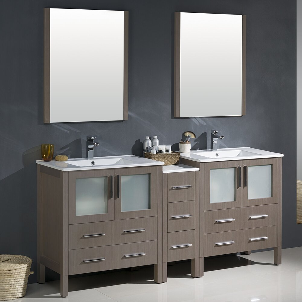 Fresca torino 72 double modern bathroom vanity set with - 72 inch single sink bathroom vanity ...