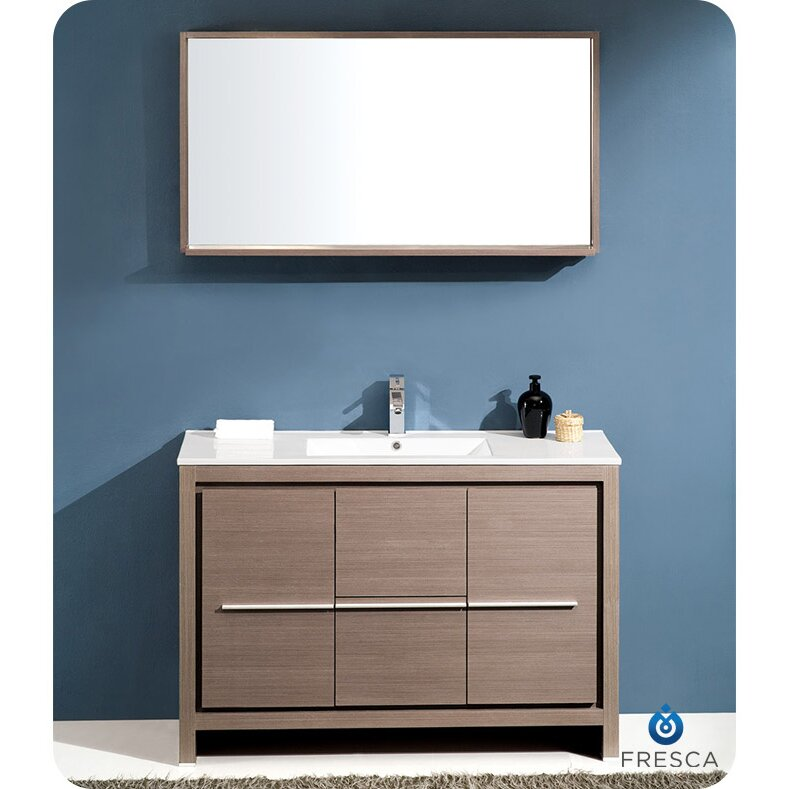 Modern 48 Bathroom Single Vanity With Mirror Set