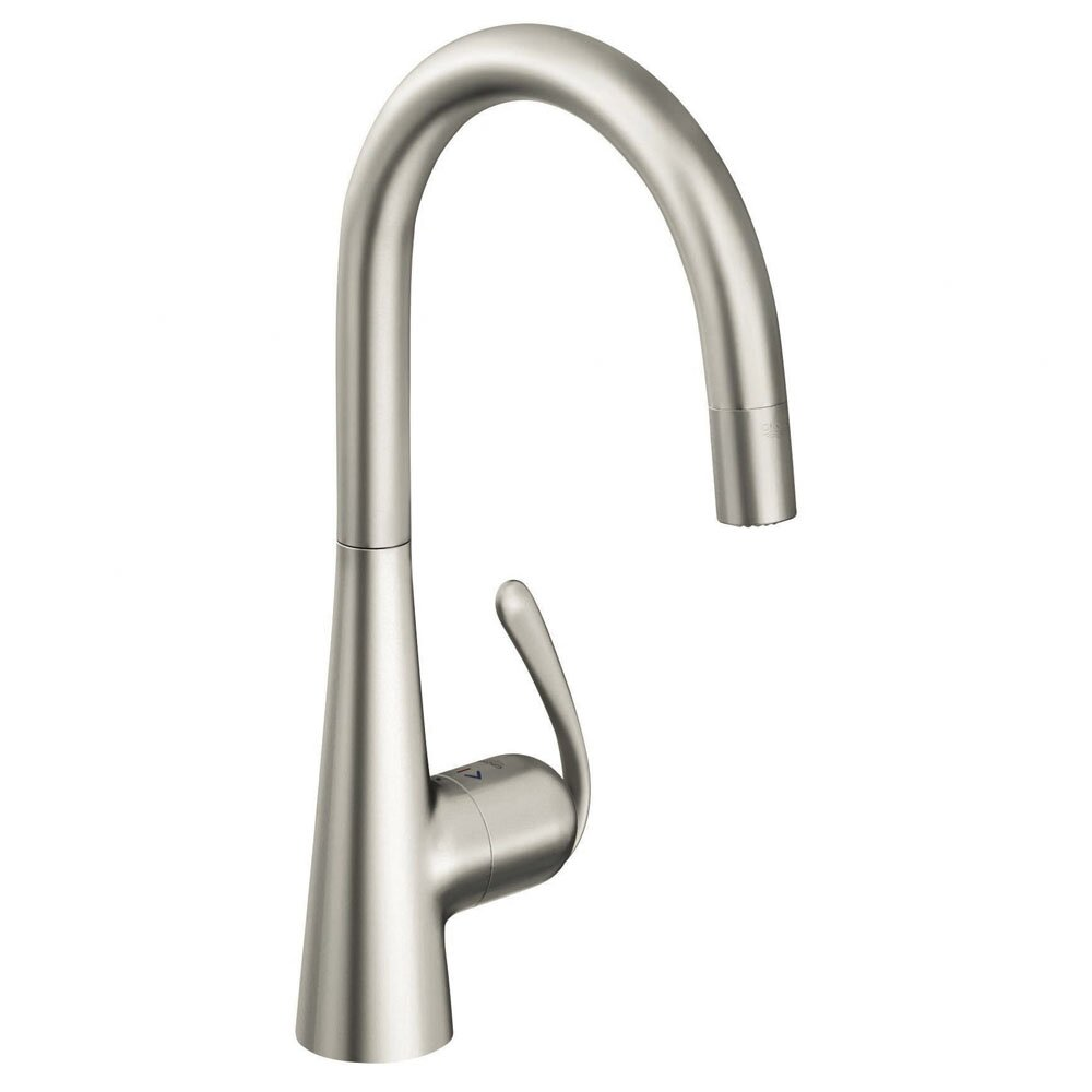 Grohe Ladylux3 Single Handle Single Hole Standard Kitchen Faucet With Dual Spray Pull Down And