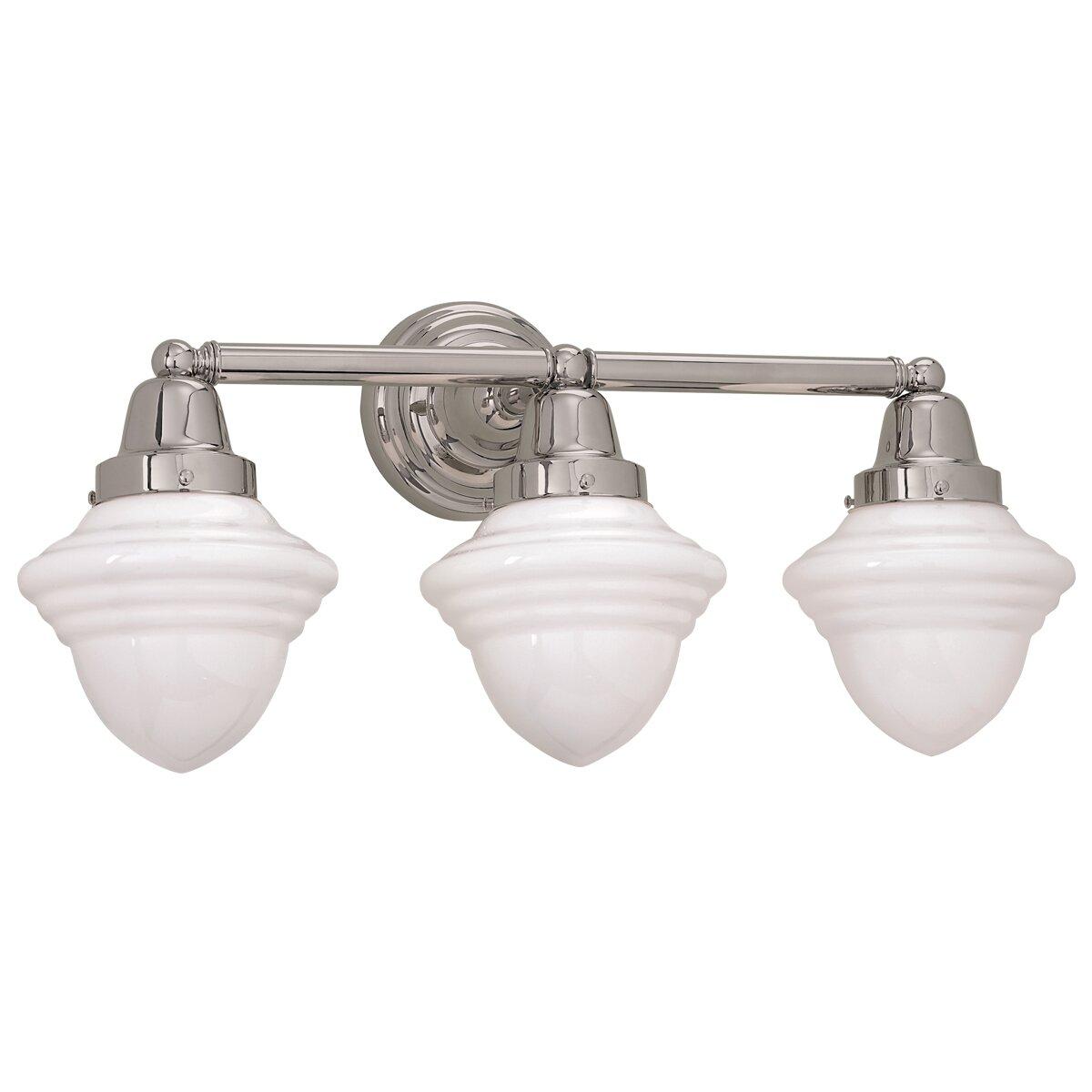 Norwell lighting bradford schoolhouse 3 light bath vanity light reviews wayfair for 3 light bathroom vanity light